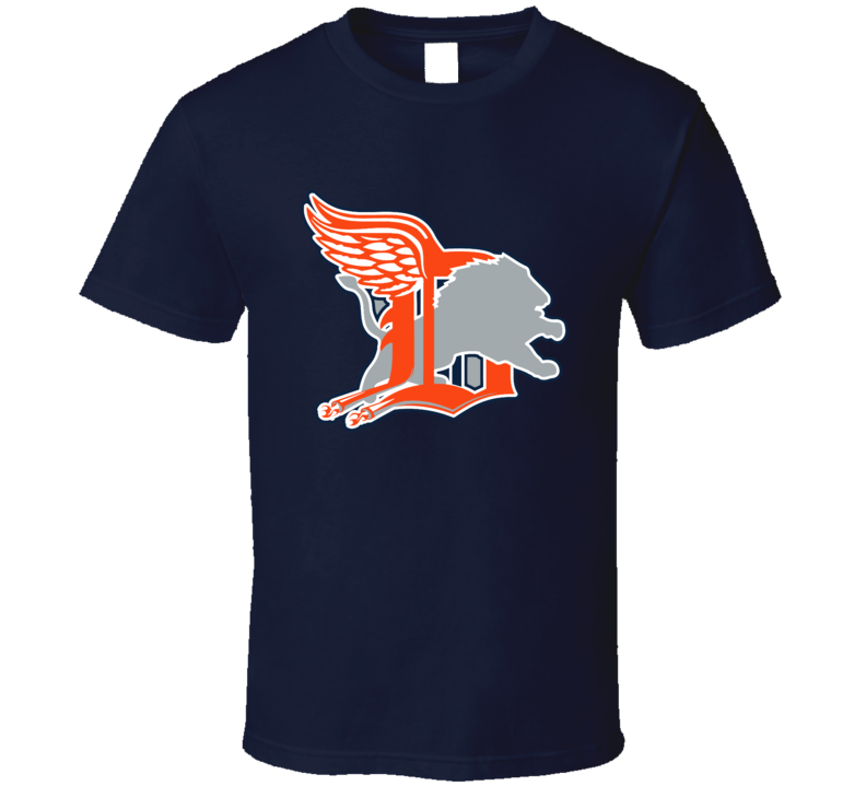 Detroit Sport Teams Mashup Football Baseball Hockey Basketball Re Color 2 Fun Fan T Shirt