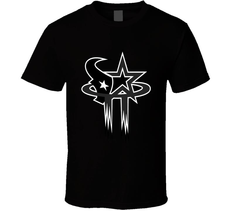 Houston Sport Teams Mashup Baseball Football Basketball Cool Fun Fan T Shirt