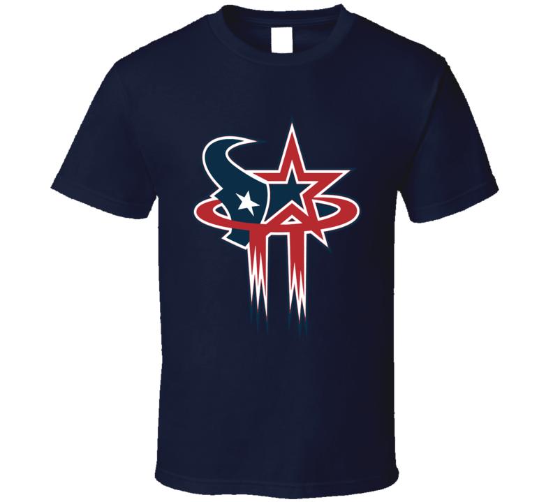 Houston Sport Teams Mashup Baseball Football Basketball Fun Fan T Shirt
