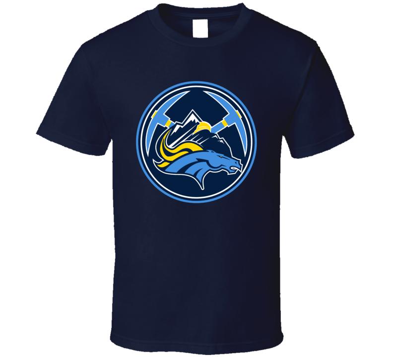 Denver Colorado Sport Teams Mashup Broncos Nuggets Rockies Avalanche Hockey Baseball Basketball Football Re Color 2 Fun Fan T Shirt