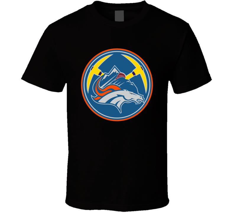 Denver Colorado Sport Teams Mashup Hockey Baseball Basketball Football Re Color 5 Fun Fan T Shirt