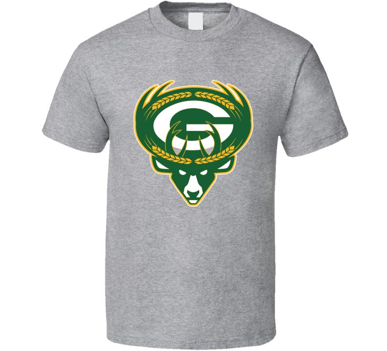 Milwaukee Green Bay Sport Teams Mashup Brewers Packers Bucks Football Basketball Baseball Re Color Fun Fan T Shirt