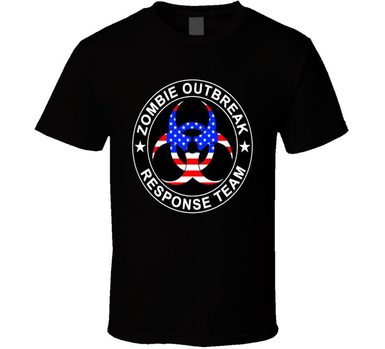 U S A Zombie Outbreak Response Team Zombie Apocalypse Cool Fun Fan T Shirt