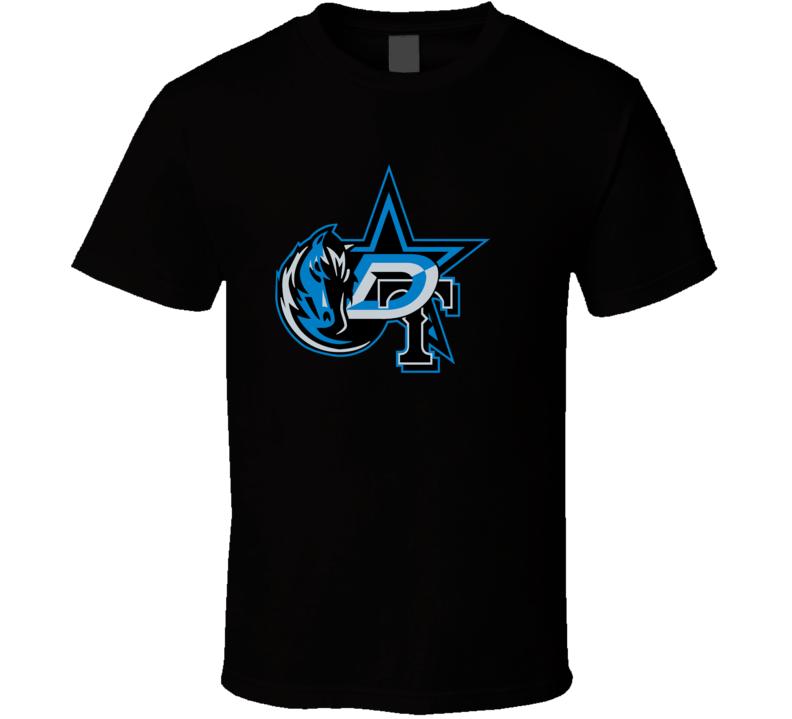 Dallas Texas Sport Teams Mashup Football Basketball Baseball Hockey Re Color Fun Fan T Shirt