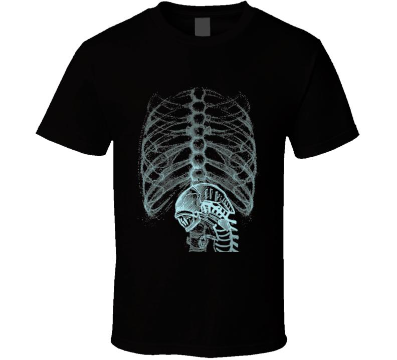Aliens Nostromo Xenomorph Rib Cage Weylan-Yutani Corporation Fun Fan Black T Shirt