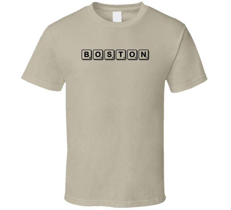 Boston Scrabble Game Parody T Shirt