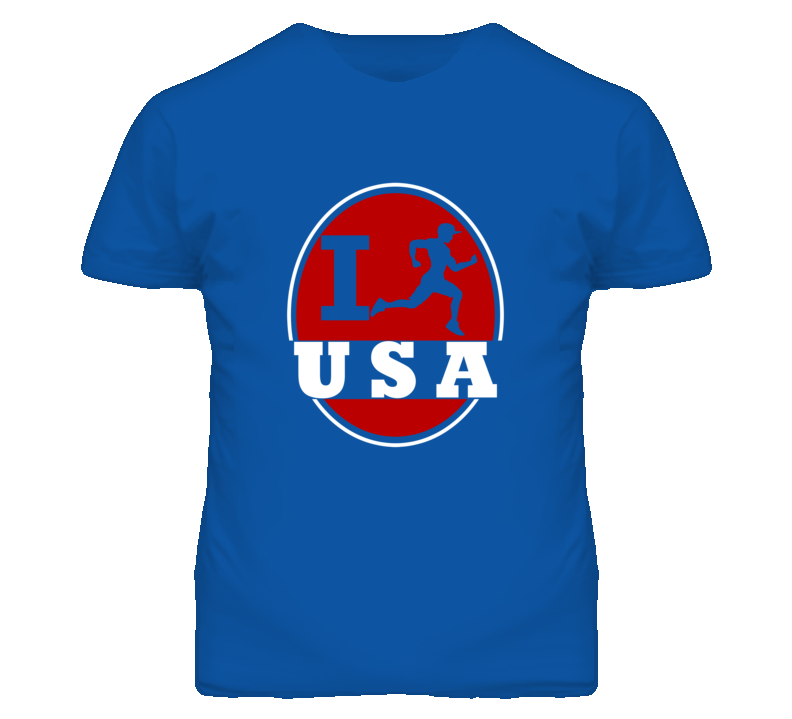I Run USA Jogging Running T Shirt