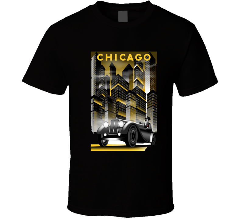 Once Upon A Time In Night In Chicago Handmade Drawing Vector Illustration Retro T Shirt T Shirt