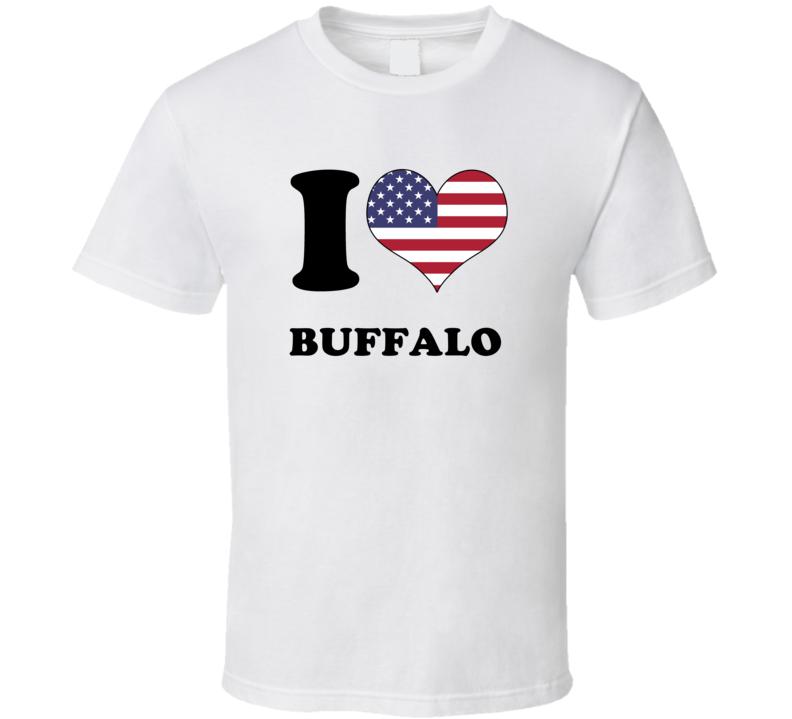 Buffalo Erie County New York State I Love Heart USA T Shirt