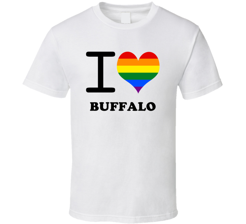 Buffalo Erie County New York State I Love Heart Gay Pride T Shirt