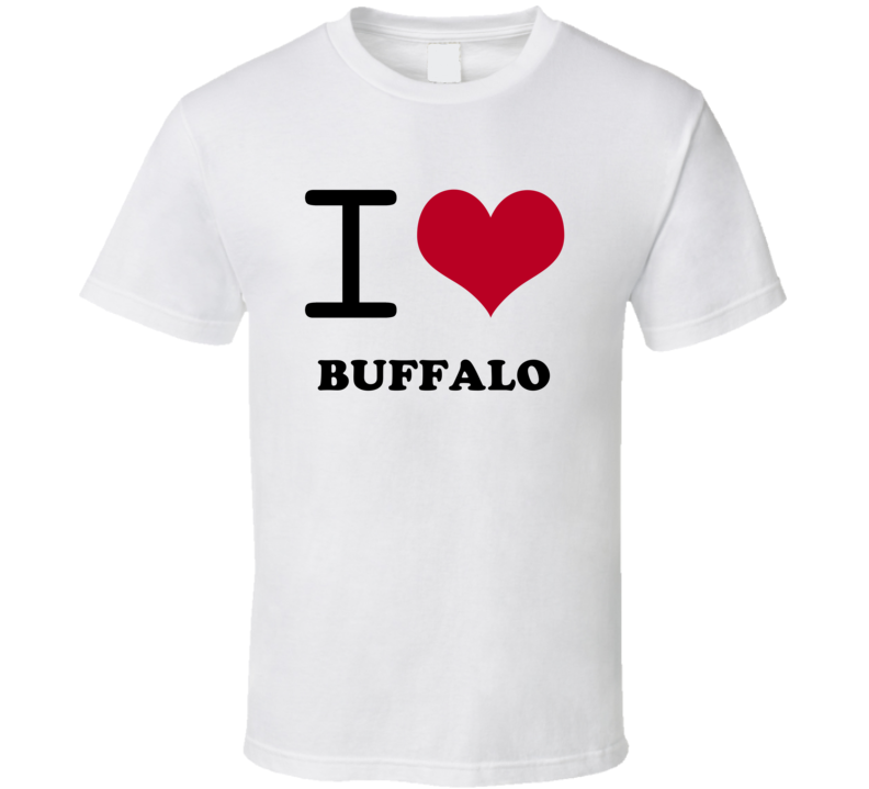 Buffalo Erie County New York State I Love Heart Adore T Shirt