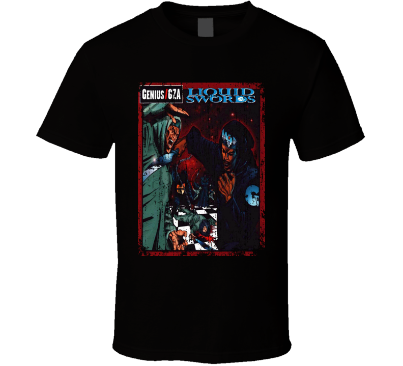Genius GZA Liquid Swords 1995 Album Worn Look Cover T Shirt