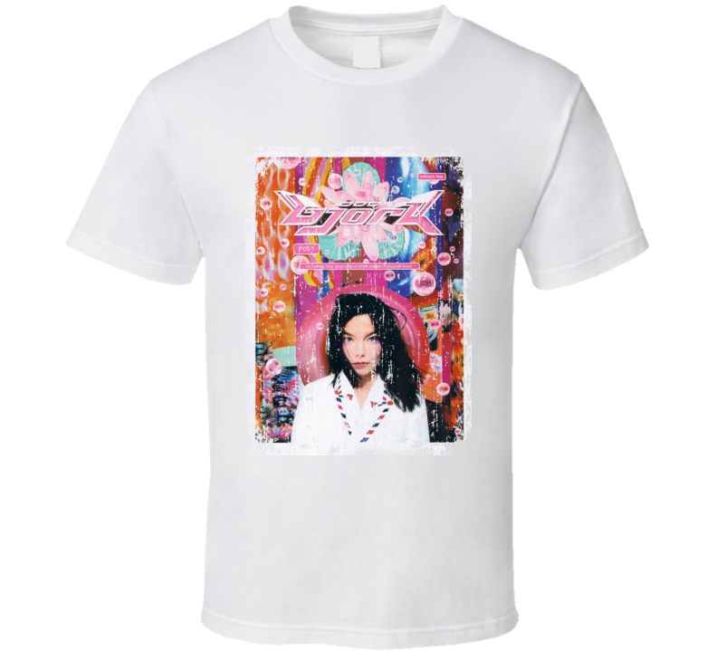Bjork Post 1995 Cool Album Worn Look Cover T Shirt
