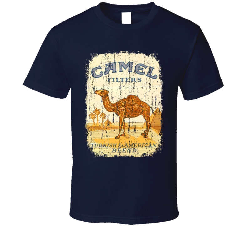 Camel US Cigarette Smoker Fathers Day Worn Look Cool T Shirt