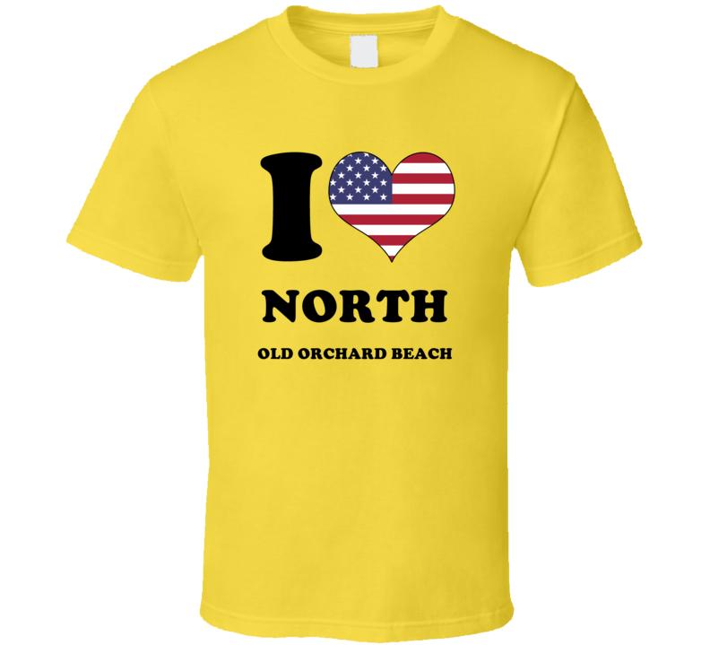 North Old Orchard Beach York Maine New England I Love Heart USA Flag T Shirt