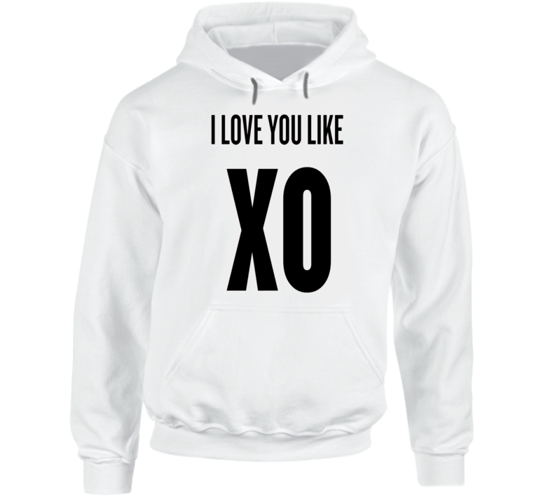 I Love You Like XO Graphic White Cotton Hooded Pullover