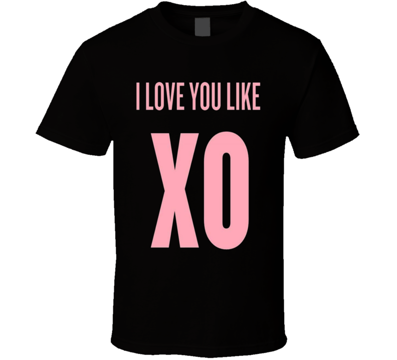 I Love You Like XO Black Graphic Cotton T Shirt