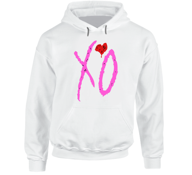I Love You Like XO with Red Heart Emblem Graphic White Cotton Hooded Pullover