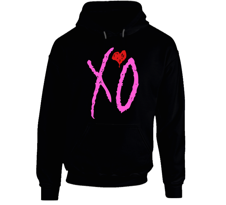 I Love You Like XO Graphic Black Cotton Hooded Pullover