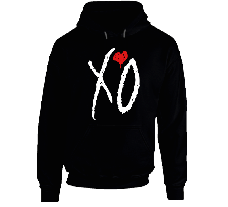 I Love You Like XO Graphic Black Cotton Hooded Sweatshirt