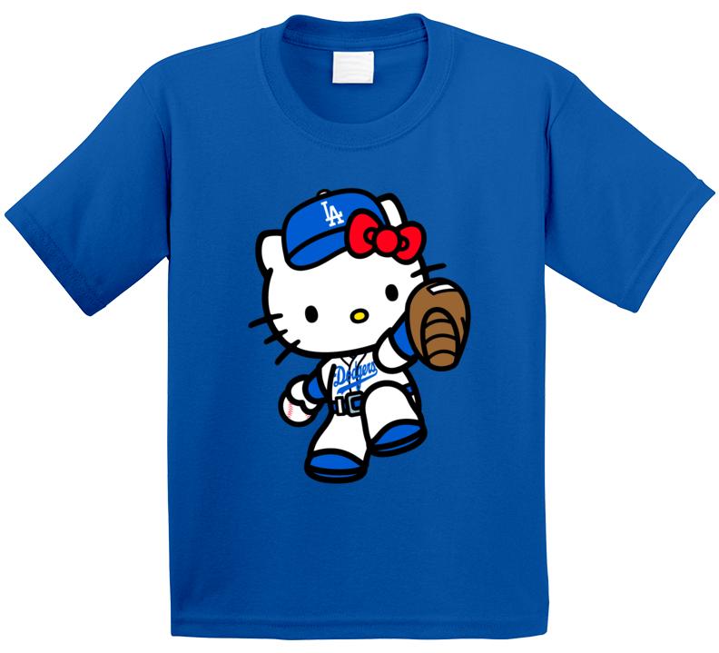 Hello Kitty Dodgers Shirts, Hello Kitty Sports Team Shirts - Kids T Shirt