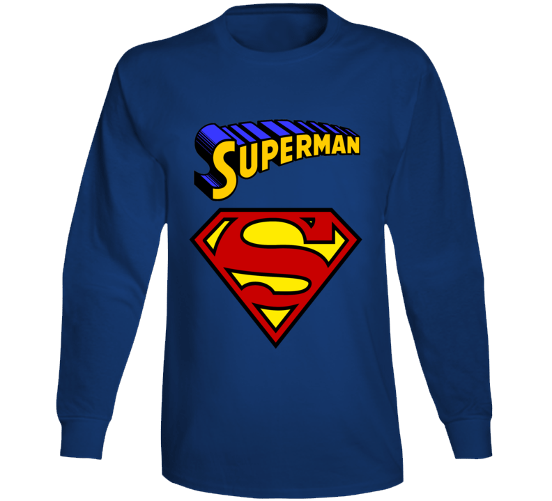 Superman Shirt, Superman Superhero Long Sleeve Shirt