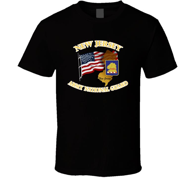 ARNG - DUI- ARNG New Jersey w Flag T Shirt