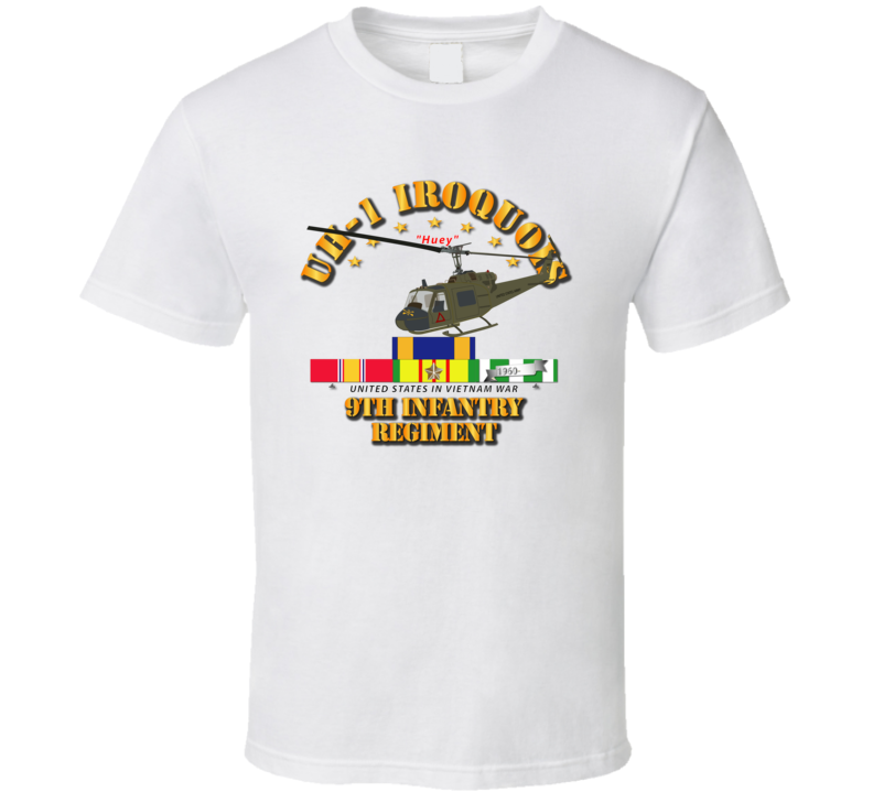 UH-1 - 9th Infantry - Front Oblique  Vietnam w VN SVC Medals T Shirt