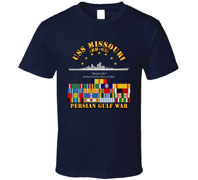 USS Missouri - Persian Gulf War w SVC Ribbons T Shirt