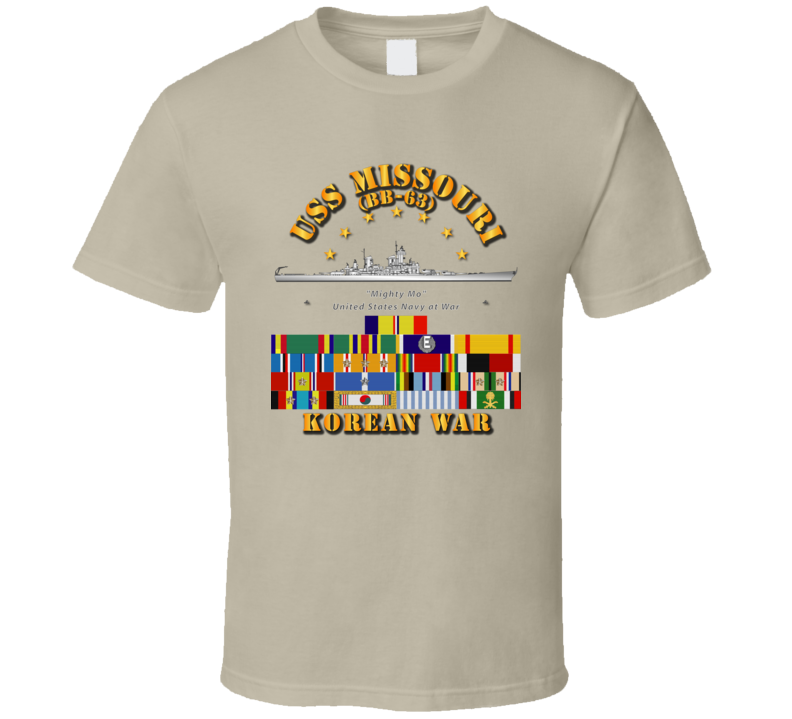 USS Missouri - Korean War w SVC Ribbons T Shirt