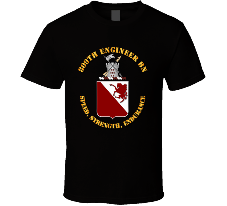 809th Engineer Bn - Coat of Arms w Motto T Shirt