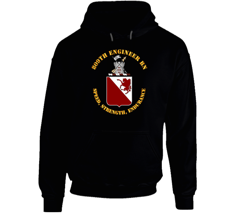 809th Engineer Bn - Coat of Arms w Motto Hoodie