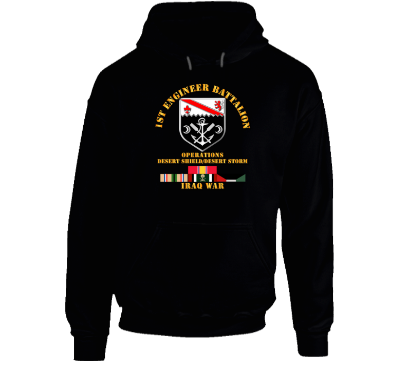 1st Engineer Bn w DS DS Svc Ribbons Hoodie