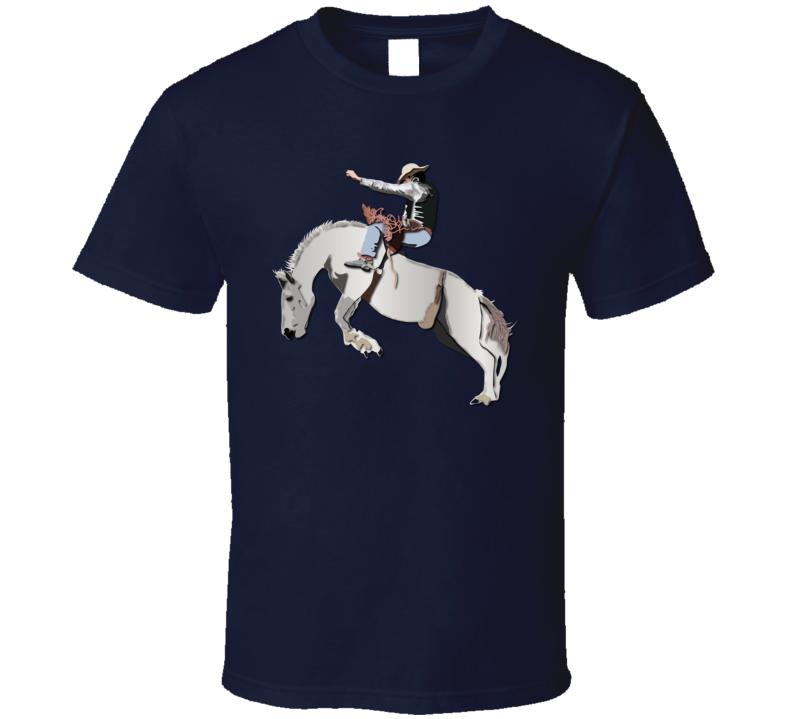 Bronc Rider - White Horse T Shirt