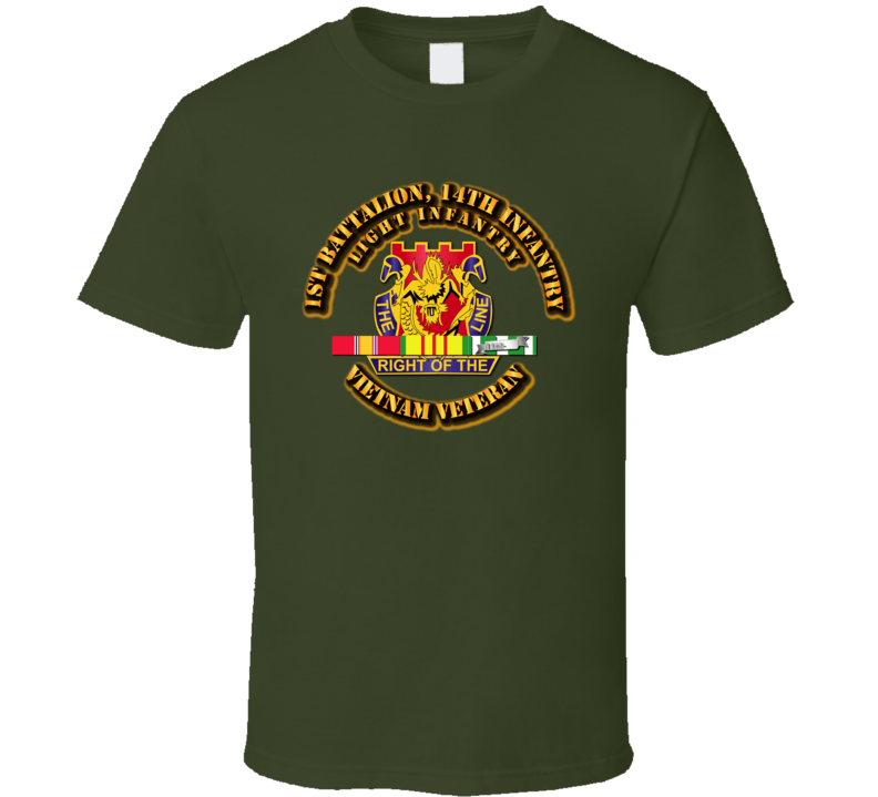 1st Battalion, 14th Infantry (Light Infantry) Wth Svc Ribbon T Shirt