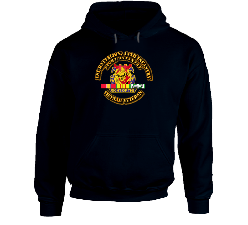 1st Battalion, 14th Infantry (Light Infantry) Wth Svc Ribbon Hoodie