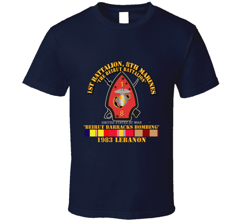Usmc - 1st Bn, 8th Marines - Beirut Barracks Bombing W Svc T Shirt