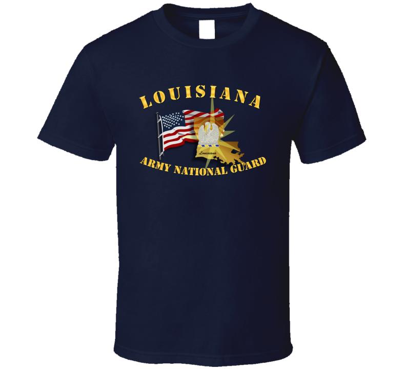 Louisiana - ARNG w Flag T Shirt
