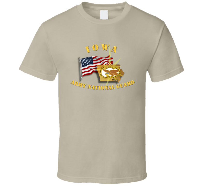 Iowa - ARNG w Flag T Shirt