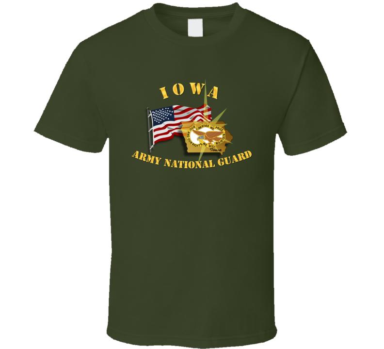 Iowa - ARNG w Flag T Shirt
