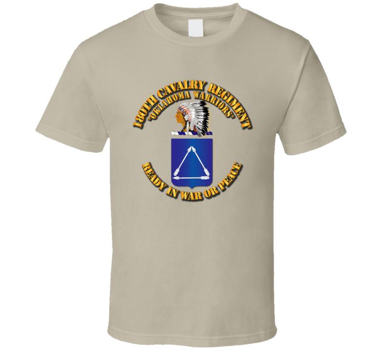 Army - 180th Cavalry Regiment - Coa - T Shirt