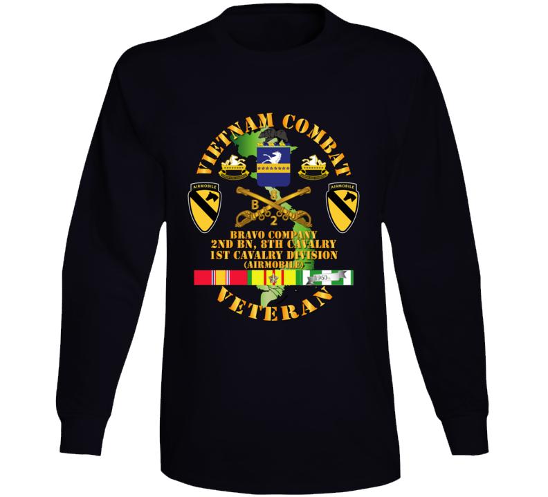 Army - Vietnam Combat Cavalry Veteran W Bravo - 2nd Bn 8th Cav Coa - 1st Cav Div Ssi Long Sleeve