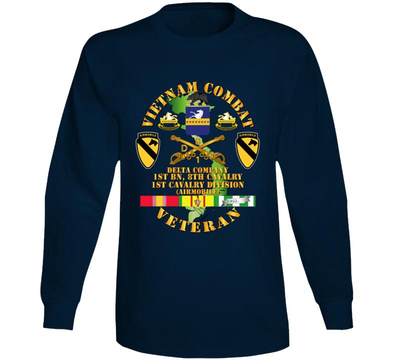 Army - Vietnam Combat Cavalry Veteran W Delta - 1st Bn 8th Cav Coa - 1st Cav Div Ssi Long Sleeve