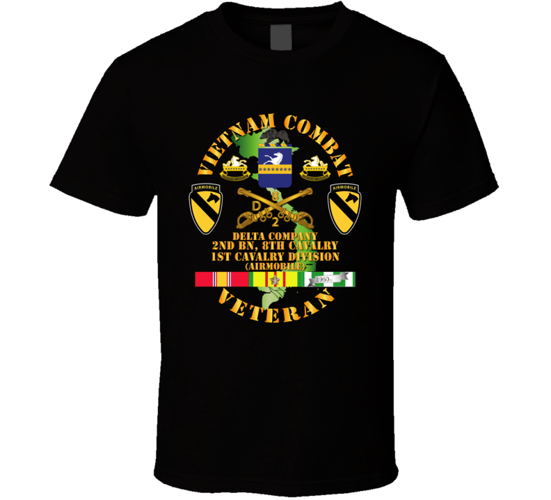 Army - Vietnam Combat Cavalry Veteran W Delta - 2nd Bn 8th Cav Coa - 1st Cav Div Ssi T-shirt