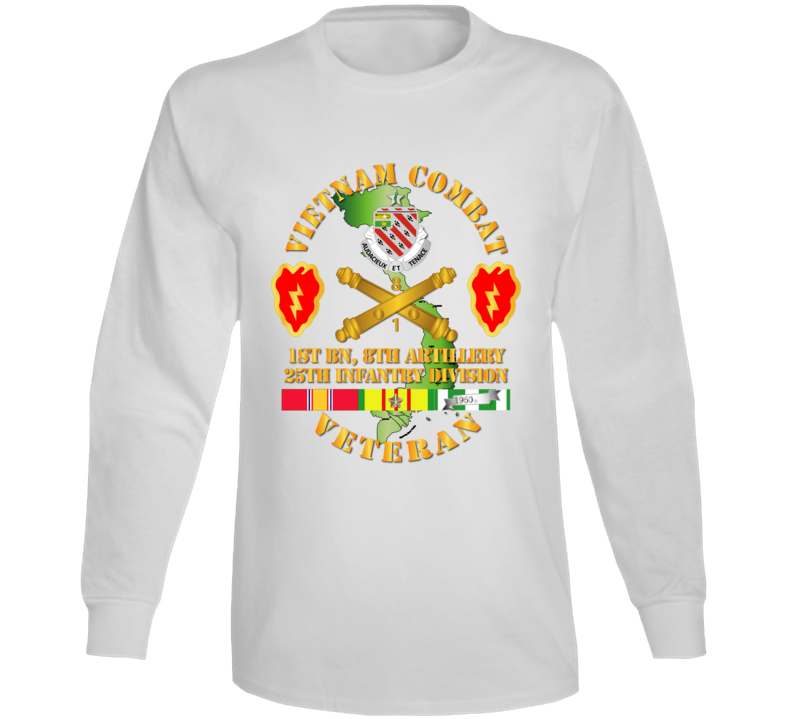 Army - Vietnam Combat Veteran W 1st Bn 8th Artillery Dui - 25th Id Ssi Long Sleeve