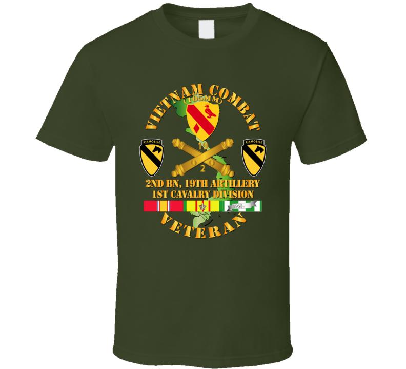 Army - Vietnam Combat Veteran W 2nd Bn 19th Artillery Dui - 1st Cav Div - V1 T-shirt