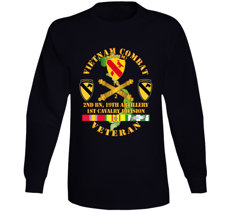 Army - Vietnam Combat Veteran W 2nd Bn 19th Artillery Dui - 1st Cav Div - V1 Long Sleeve