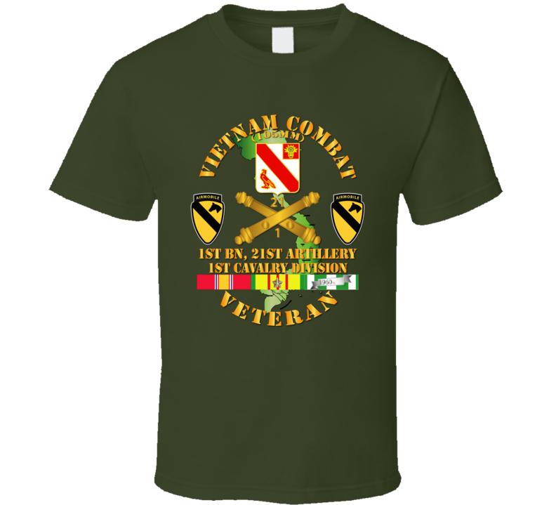Army - Vietnam Combat Veteran W 1st Bn 21st Artillery Dui - 1st Cav Div T-shirt
