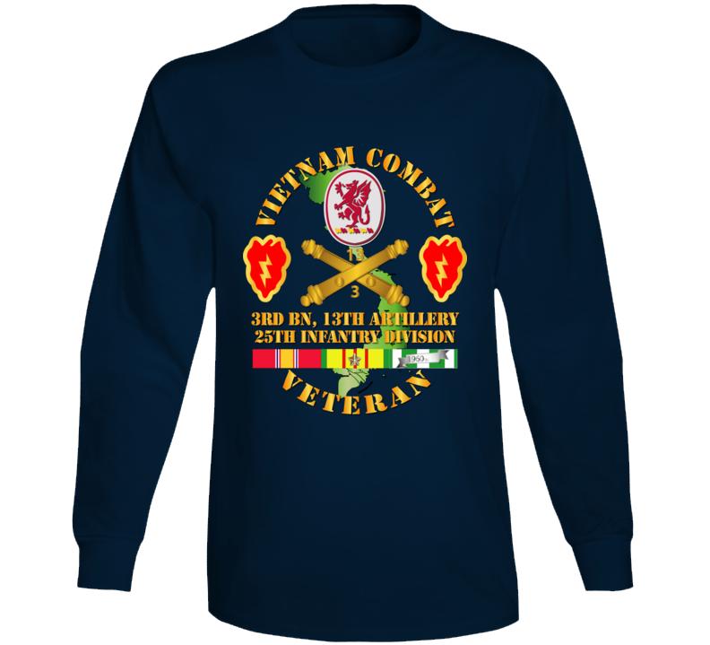 Army - Vietnam Combat Veteran W 3rd Bn 13th Artillery Dui - 25th Id Ssi Long Sleeve