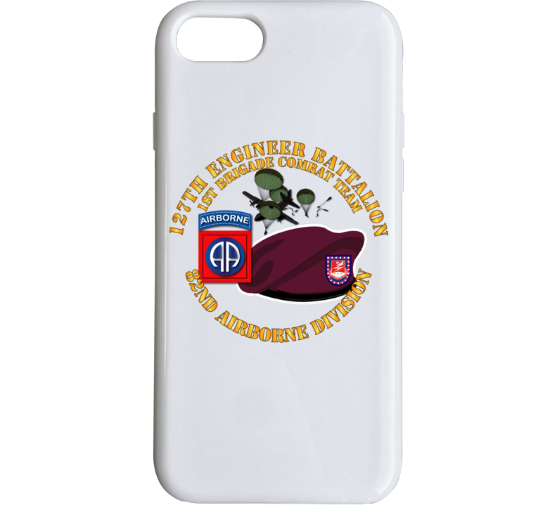 Army - 82nd Airborne Div - Beret - Mass Tac - Maroon  - 127th Engineer Bn Phone Case